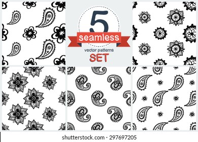 Hand Drawn paisley and mehendi graphic black line lace daisy and buta decoration items on white background. Set of 5 vector seamless pattern. Chess grid order pattern.