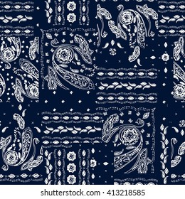Hand drawn paisley pattern. Wallpaper decoration floral print. Decorative ornament. Seamless patchwork background. Ornamental repeat motif. For bandanna, wrapping, wallpaper, textile, craft, batik