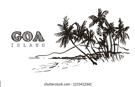 Hand drawn palm beach,Goa sketch vector illustration.Isolated on white background.
