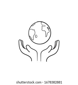 hand drawn palm hand and earth symbol for save earth illustration doodle style