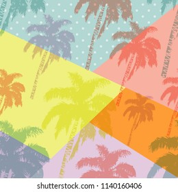 Hand drawn palm trees seamless pattern isolated on abstract geometric background. Exotic pop art design with tropical coconut palm tree. Design element for t-shirt, textile print, web, poster. Vector