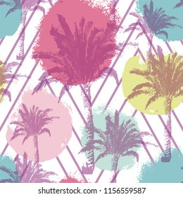 Hand drawn palm trees seamless pattern isolated on brush background. Exotic trendy design with tropical coconut palm tree. Design element for t-shirt, textile print, web, poster. Vector illustration