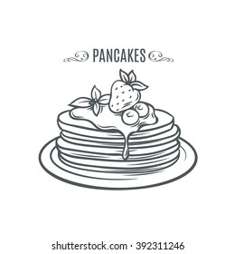Hand drawn pancakes with strawberries and syrup. Decorative icon pancakes in an old style ink.  Vector illustration of Pancakes on a plate.