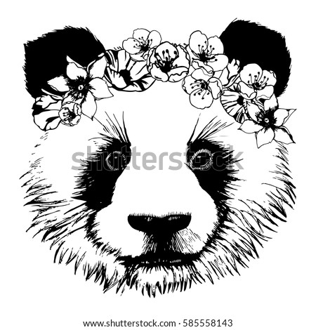 bf52d6af8c60 Royalty-free stock vector images ID  585558143. Hand drawn panda with  circlet of flowers - Vector