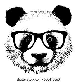 Hand drawn panda with sunglasses