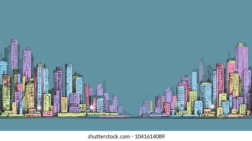 Hand drawn panorama of city skyline, cityscape
