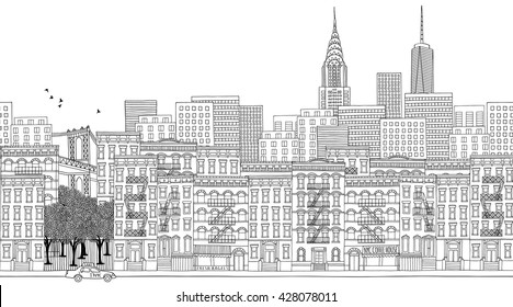 Hand drawn panorama of New York City, skyline, cityscape, seamless banner suitable for adult coloring books