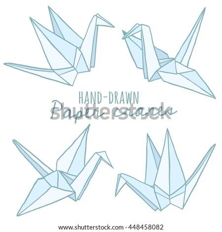 Hand Drawn Paper Crane Origami Vector Stock Vector Royalty Free
