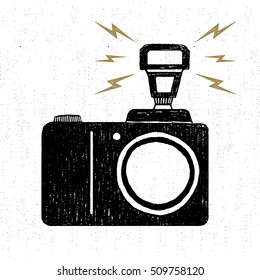 Hand drawn party icon with textured photo camera vector illustration.