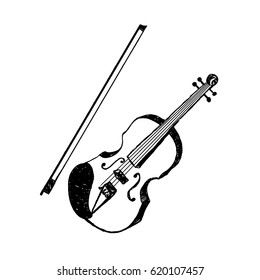 Hand drawn party icon with textured violin vector illustration.