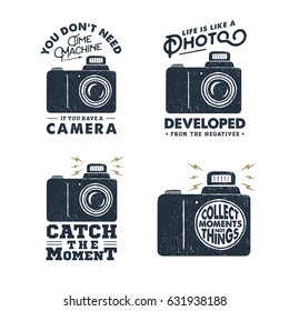 Hand drawn party label with photo camera textured vector illustration and inspirational lettering.