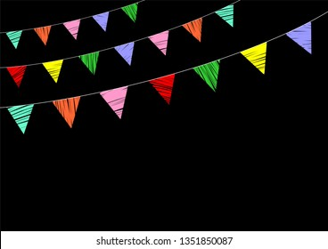 Hand drawn party multicolored flags on the black background