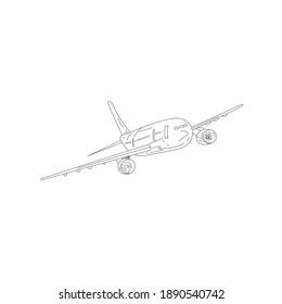 hand drawn passenger plane on white background. passenger plane vector. outline passenger plane