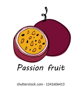 Hand drawn Passion fruit isolated on white background. vector illustration.