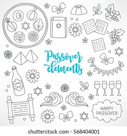 Hand drawn Passover design elements. Seder plate, hagada book, pyramid, flower, matzo, grapes, wine bottle, bow, glasses, waves, garland, Torah, bow. Perfect for coloring books