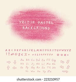 Hand drawn pastel banner. Vector background with sketchnote alphabet, numbers and symbols