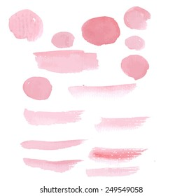 Hand drawn pastel color pink paint brushstroke watercolor