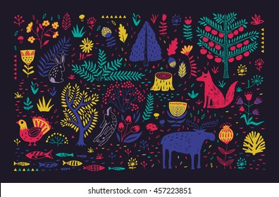 Hand drawn pattern with abstract scandinavian nature elements. Vector set of plants and animals of the forest.