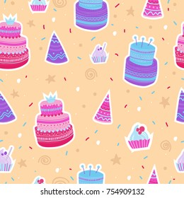 Hand drawn pattern with Birthday elements. Celebration cakes and festive caps. Colorful seamless background