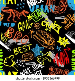 hand drawn pattern for boys. Slogans, graffiti background. For children's textiles, wrapping paper, prints