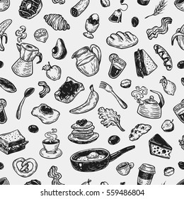 Hand drawn pattern with breakfast and morning elements. Vector breakfast food, meal and drinks. Eggs, bacon, coffee, sweets, fruits and vegetables.