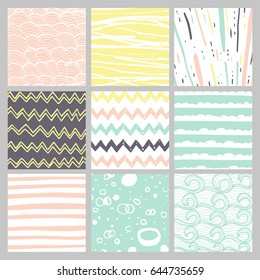 Hand drawn pattern collection. 9 Simple textures for bacgkround, fabric, scrapbook, baby shower or other types of design.