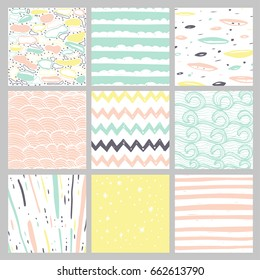 Hand drawn pattern collection. Set of 9 simple textures for backround, fabric, scrupbook, baby shower or other types of design.