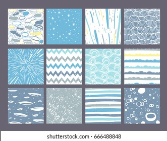 Hand drawn pattern collection. Set of 9 simple textures for background, fabric, scrapbook, baby shower or other types of design.
