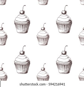 Hand drawn pattern with cupcakes. Seamless pattern with cakes. Vector, EPS 8.