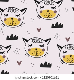 Hand drawn pattern with cute cat, kitten in scandinavian style. Textile,fabric or poster. Kid drawing design. Vector illustration