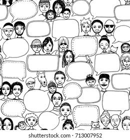 Hand drawn pattern with cute doodle faces and empty speech bubbles
