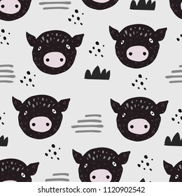 Hand drawn pattern with cute pig in scandinavian style. Textile,fabric or poster. Kid art design. Vector illustration
