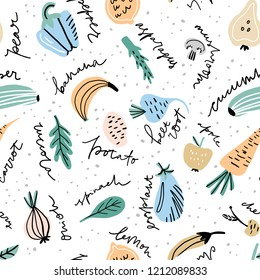 Hand drawn pattern with different fruits and vegetables including made in freestyle vector with hand lettered names. Vector illustration.