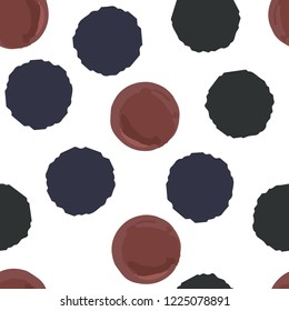 Hand Drawn Сontinuous pattern polka dots two in colors. Vector. Elements are not cropped. Pattern under the mask. Perfect design for posters, cards, textile, web etc.