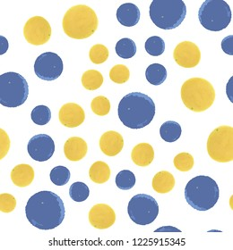 Hand Drawn Сontinuous pattern polka dots in blue and yellow colors. Vector. Elements are not cropped. Pattern under the mask.Perfect design for posters, cards, textile, web etc.