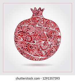 Hand drawn pattern with pomegranate ornaments and elements. Vector creative abstract pomegranate fruit. Decorative design for Jewish holidays. Tu Bishvat, Sukkot, Rosh Hashanah. Healthy food logo
