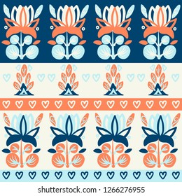 Hand Drawn pattern with summer flowers and herbs vintage Hohloma floral elements. Blue Yellow on white