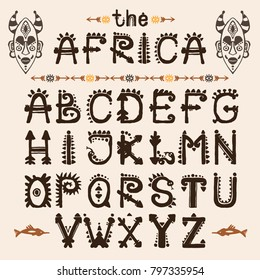 Hand drawn pattern with Tribal font typeface and mask ethnic . Capital Letters for your design, wallaper, textile, print. African culture. Fabric afro ornament. Coloful batik art. Type script.