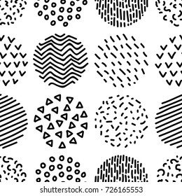 Hand drawn patterned circles geometric seamless pattern in black and white, vector