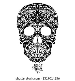 Hand drawn patterned skull, decorative silhouette black on white