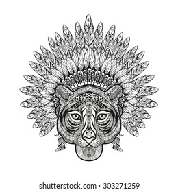 Hand Drawn patterned Tiger in zentangle style with Feathered War bonnet, high detailed headdress for Indian Chief. American boho spirit. Vintage sketch, vector illustration for tattoos, t-shirt print.