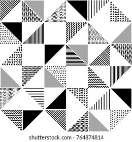 Hand drawn patterned triangles geometric seamless pattern in black and white, vector
