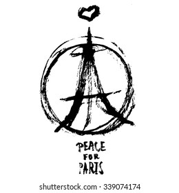 Hand drawn peace for Paris illustration of pray hands, pray for Paris with words.
