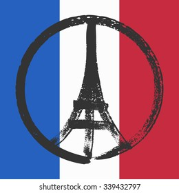 Hand drawn peace for Paris illustration of pray hands.