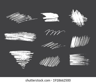 Hand drawn pencil scribble abstract frames. Vector isolated hatch textures. Coal edge background.