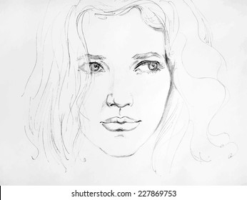 Simple Beautiful Girl Pencil Sketch