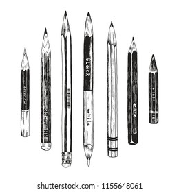 Hand drawn pencils collection, doodle vector school symbols in vintage style. Isolated objects on white background.