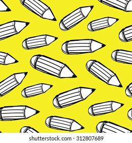 Hand drawn pencils. Seamless pattern.
