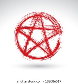 Hand drawn pentagram icon scanned and vectorized, brush drawing red magic polygonal star, hand-painted pentagram symbol isolated on white background.