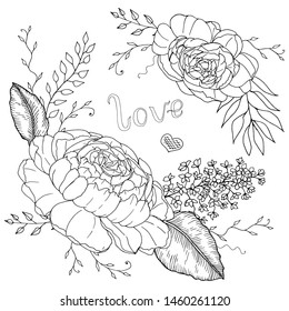 Hand drawn peonies with leaves monochrome sketch for coloring book with love vector illustration